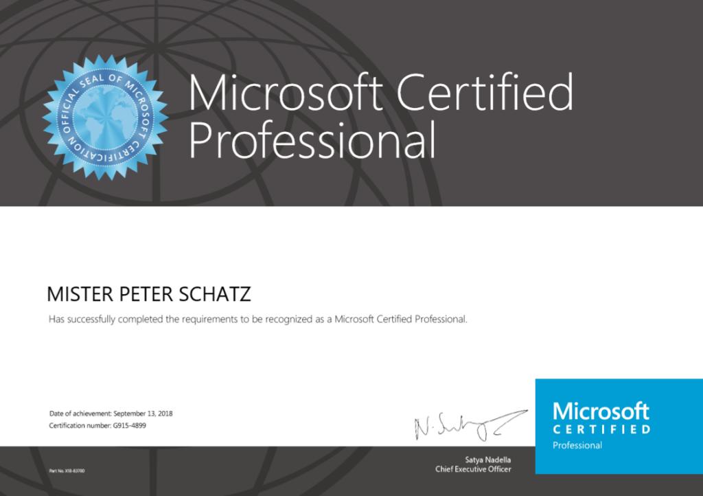 Microsoft Certified Professional Peter Schatz