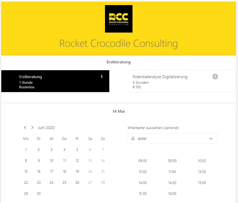 Buchungsplattform von Rocket Crocodile Consulting